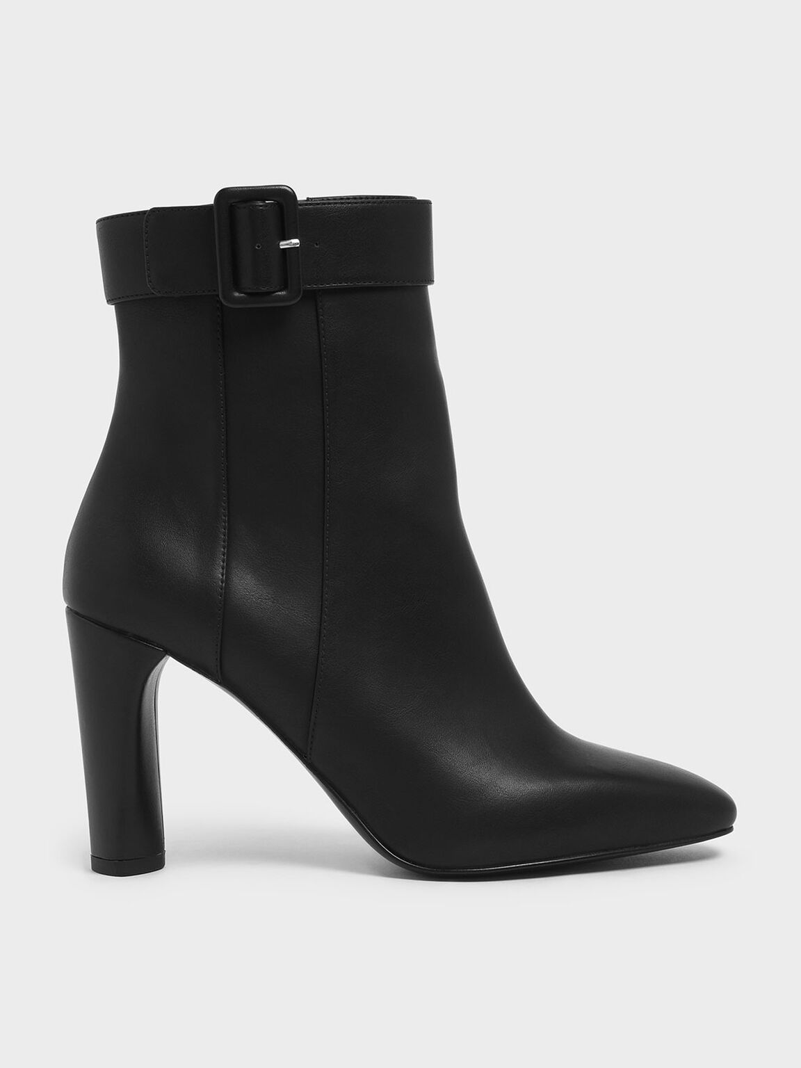 Buckle Strap Cylindrical Heel Ankle Boots, Black, hi-res