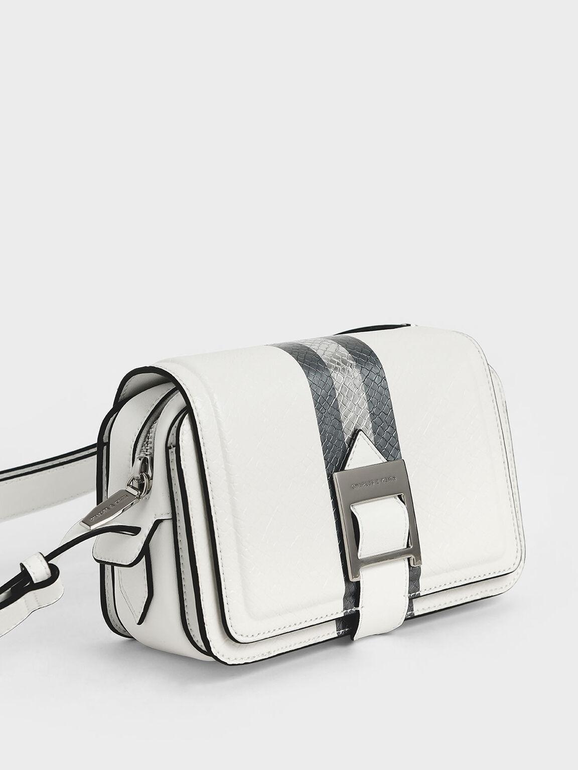 Buckle Strap Snake Print Shoulder Bag, White, hi-res