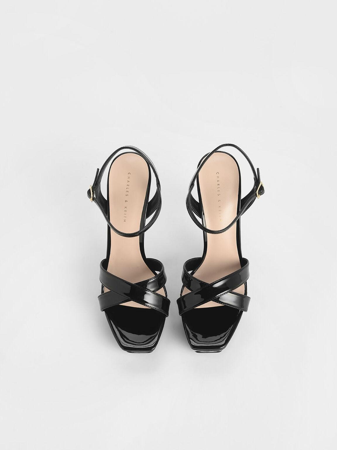 Criss Cross Ankle Strap Patent Platform Heels, Black, hi-res