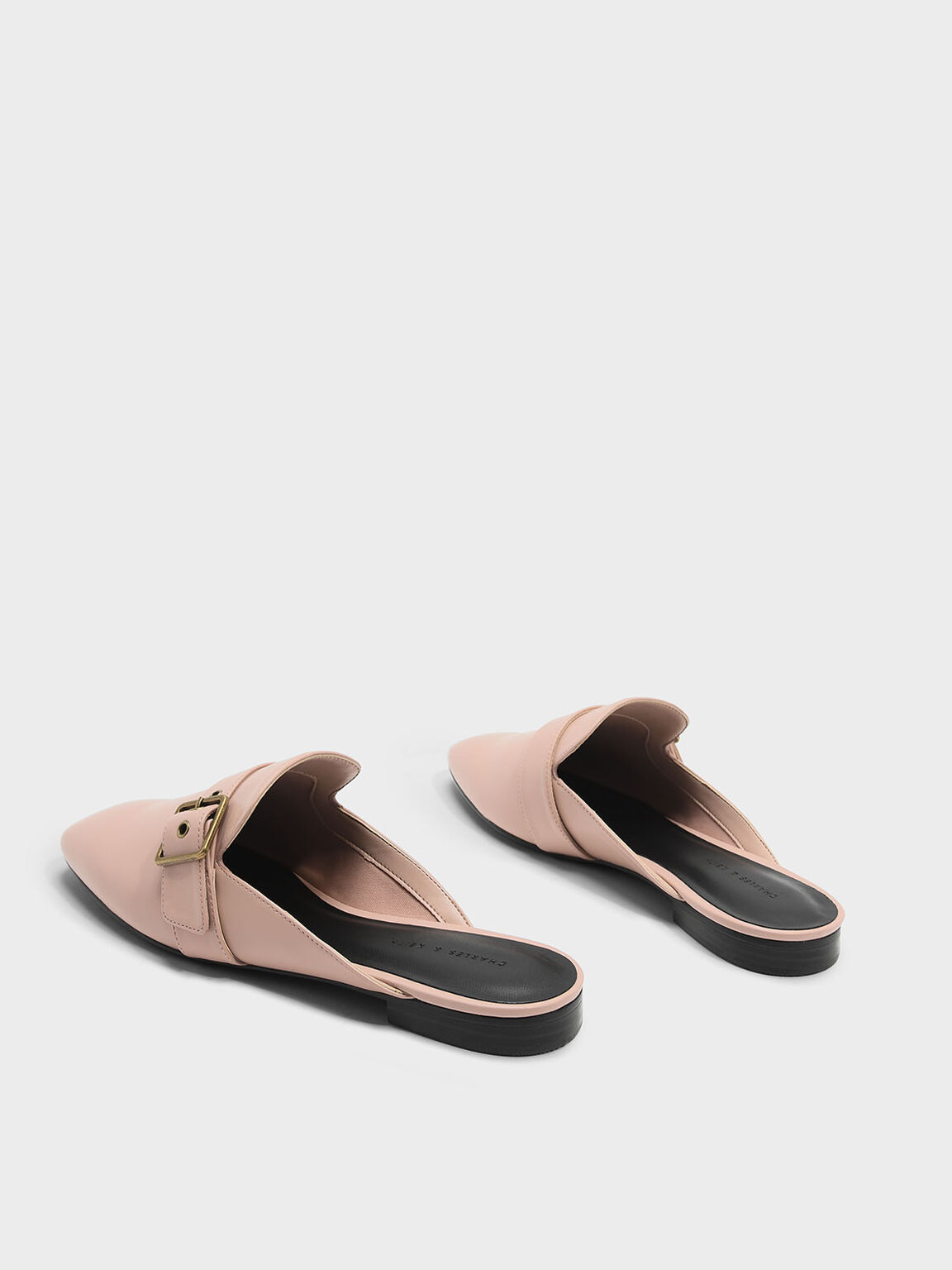 Buckle Flat Mules, Nude, hi-res