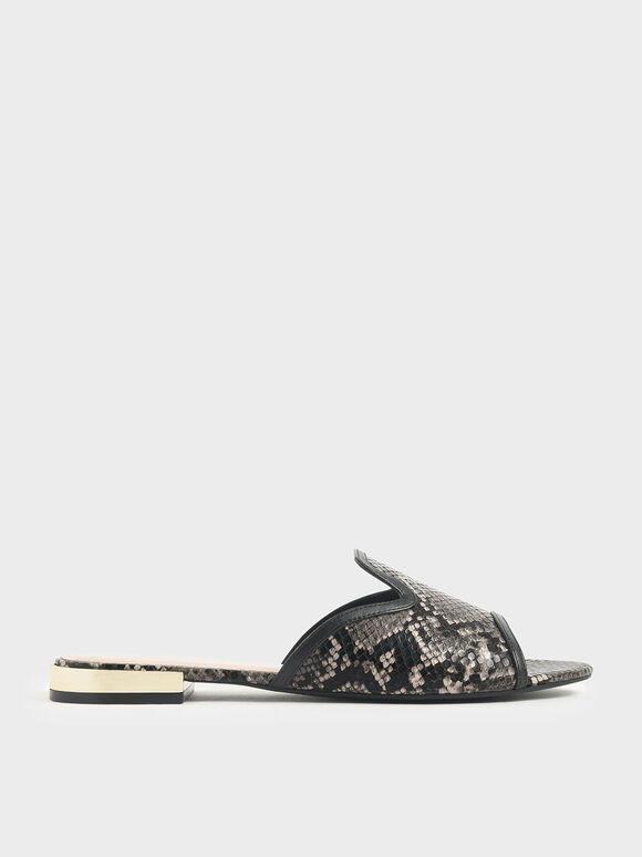 Snake Print Slide Sandals, Black, hi-res