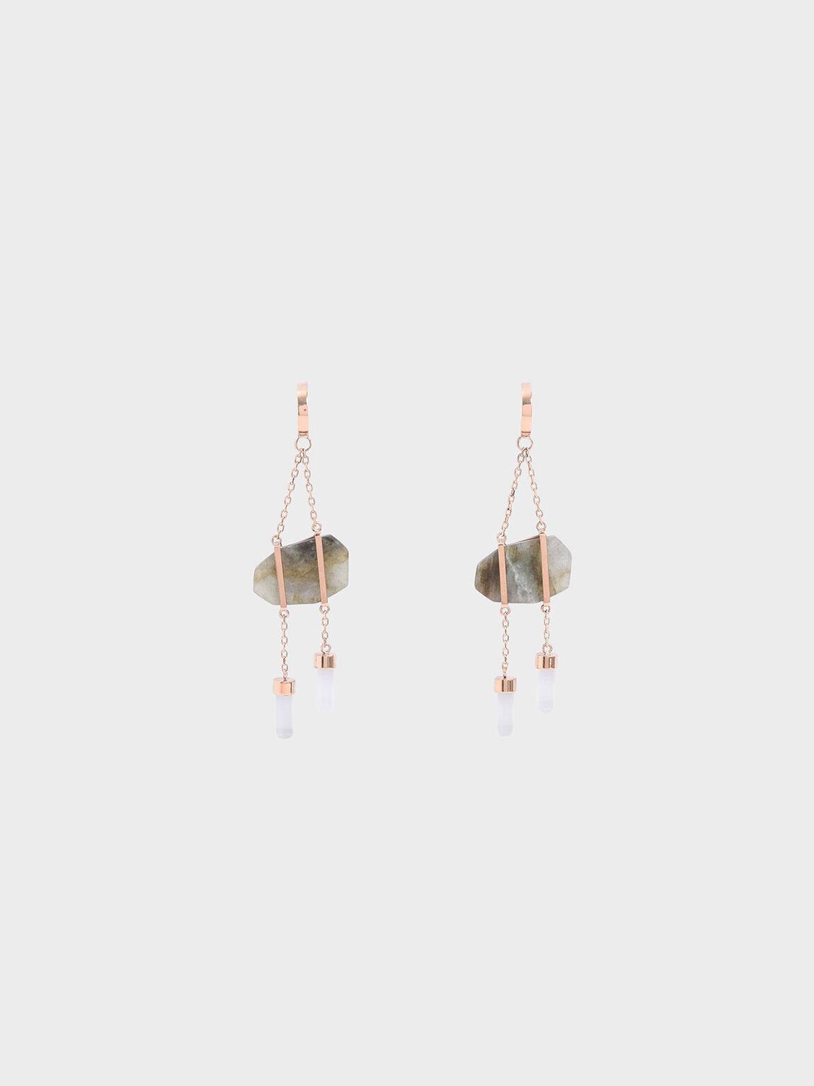 Labradorite Stone Dangle Earrings, Rose Gold, hi-res