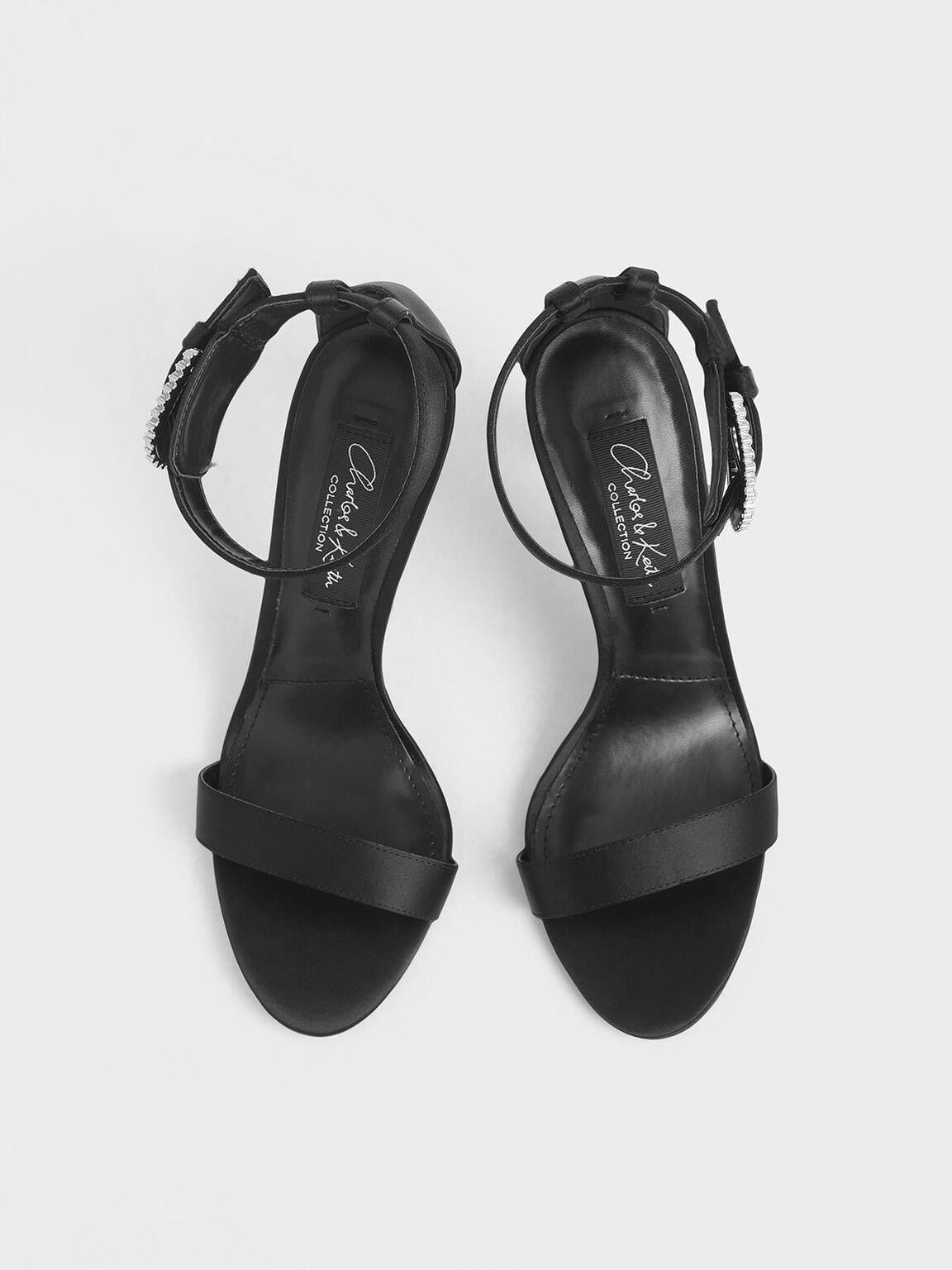 Satin Embellished Buckle Stiletto Heels, Black, hi-res