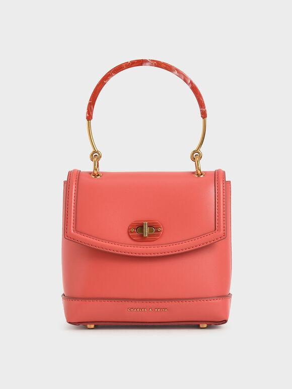 Stone-Embellished Top Handle Bag, Coral, hi-res