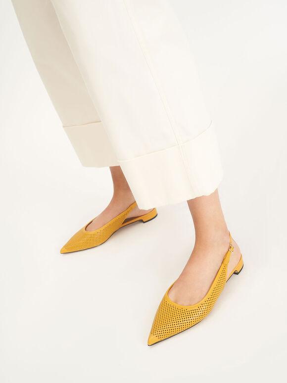 Leather Laser-Cut Slingback Ballerinas, Yellow, hi-res