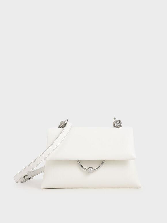 Geometric Chain Handle Bag, White, hi-res