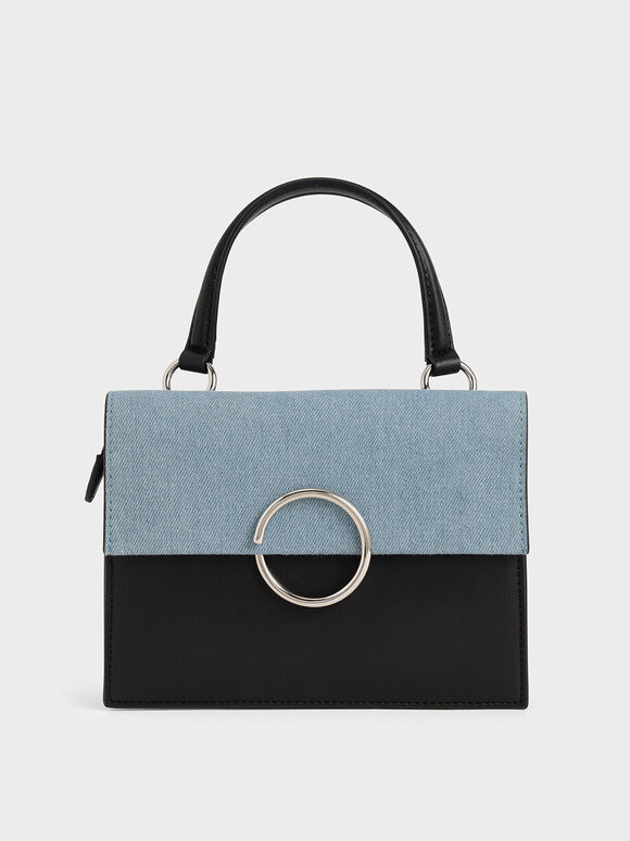 Textured Ring Detail Top Handle Bag, Denim Blue, hi-res