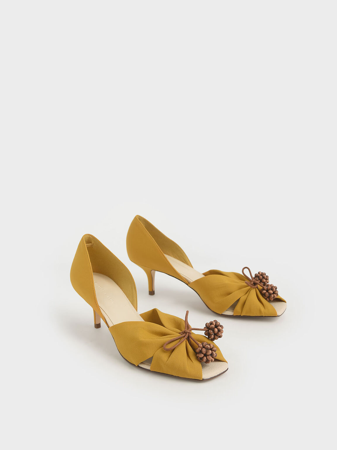 Cherry Embellished Peep-Toe D'Orsay Pumps, Mustard, hi-res