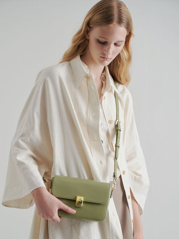 Leather Embellished Push-Lock Crossbody Bag, Sage Green, hi-res