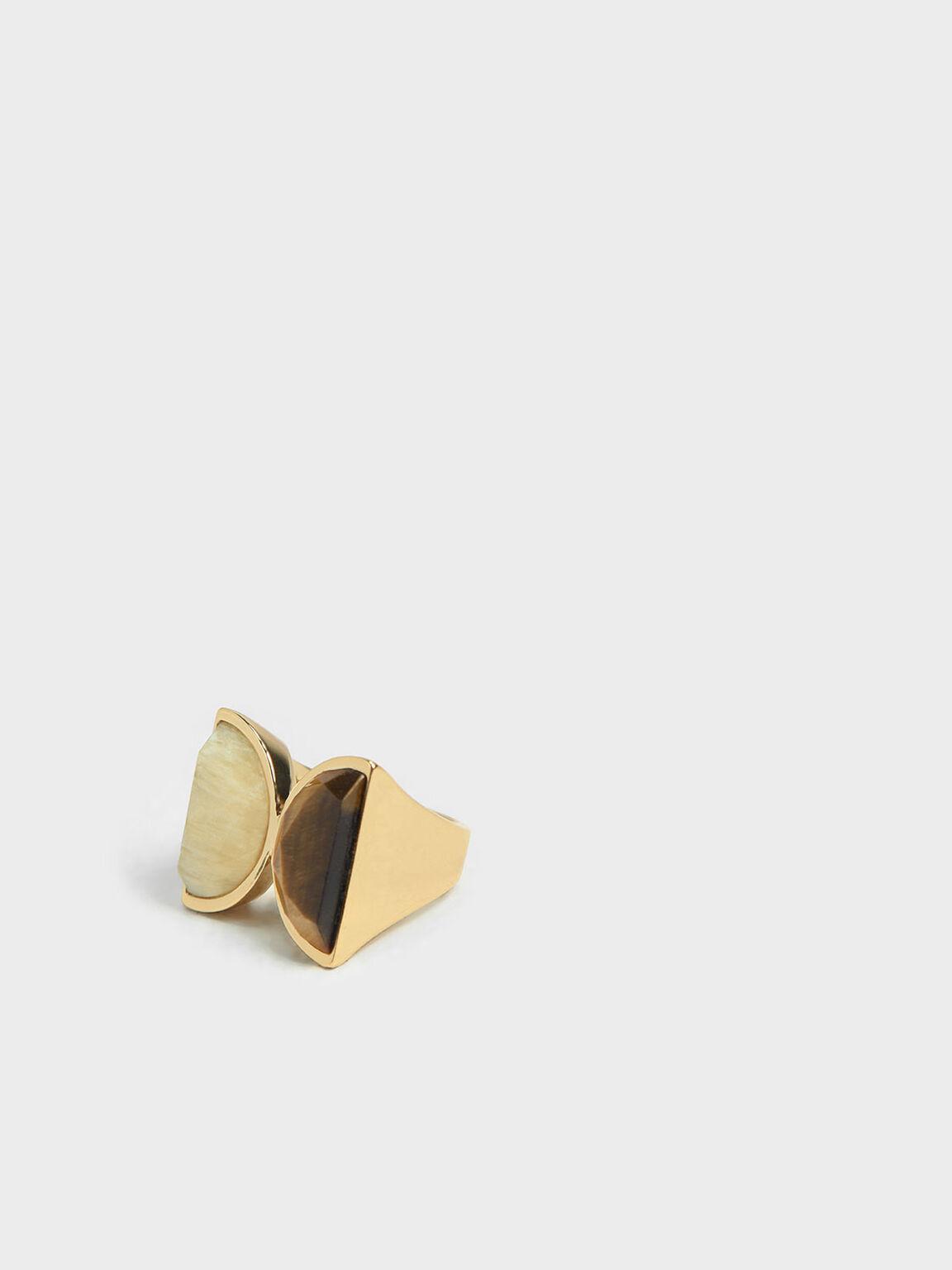 Tiger's Eye Brass Ring, Yellow, hi-res