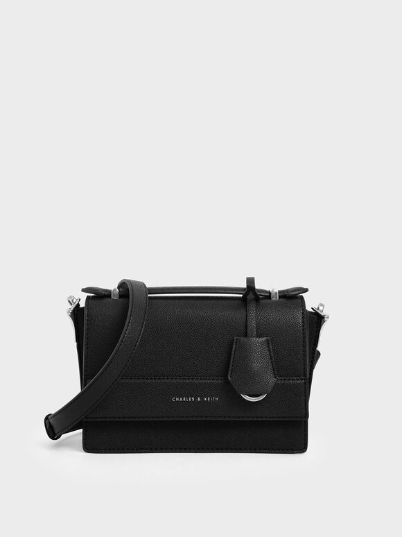 Front Flap Top Handle Bag, Black, hi-res