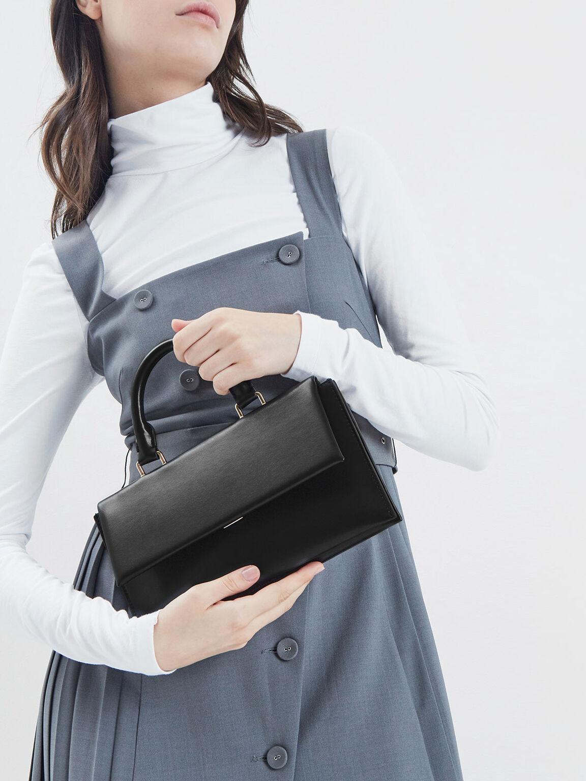 Rectangular Top Handle Bag, Black, hi-res