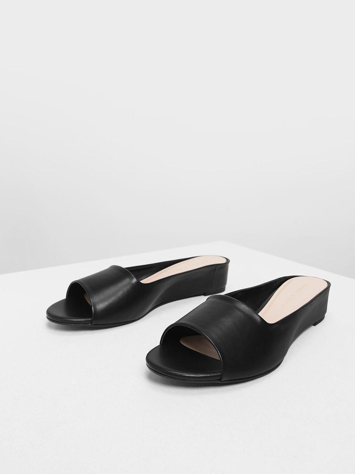 Open Toe Slide Sandals, Black, hi-res