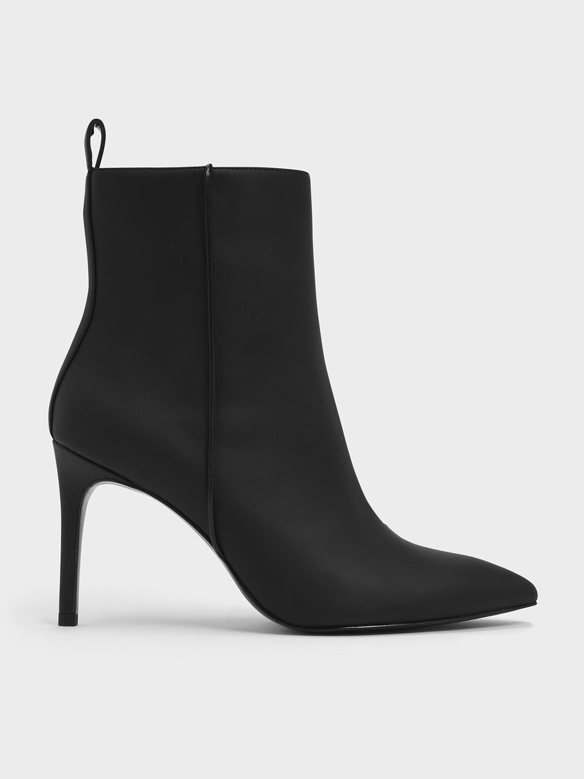 Pointed Toe Stiletto Heel Calf Boots, Black, hi-res