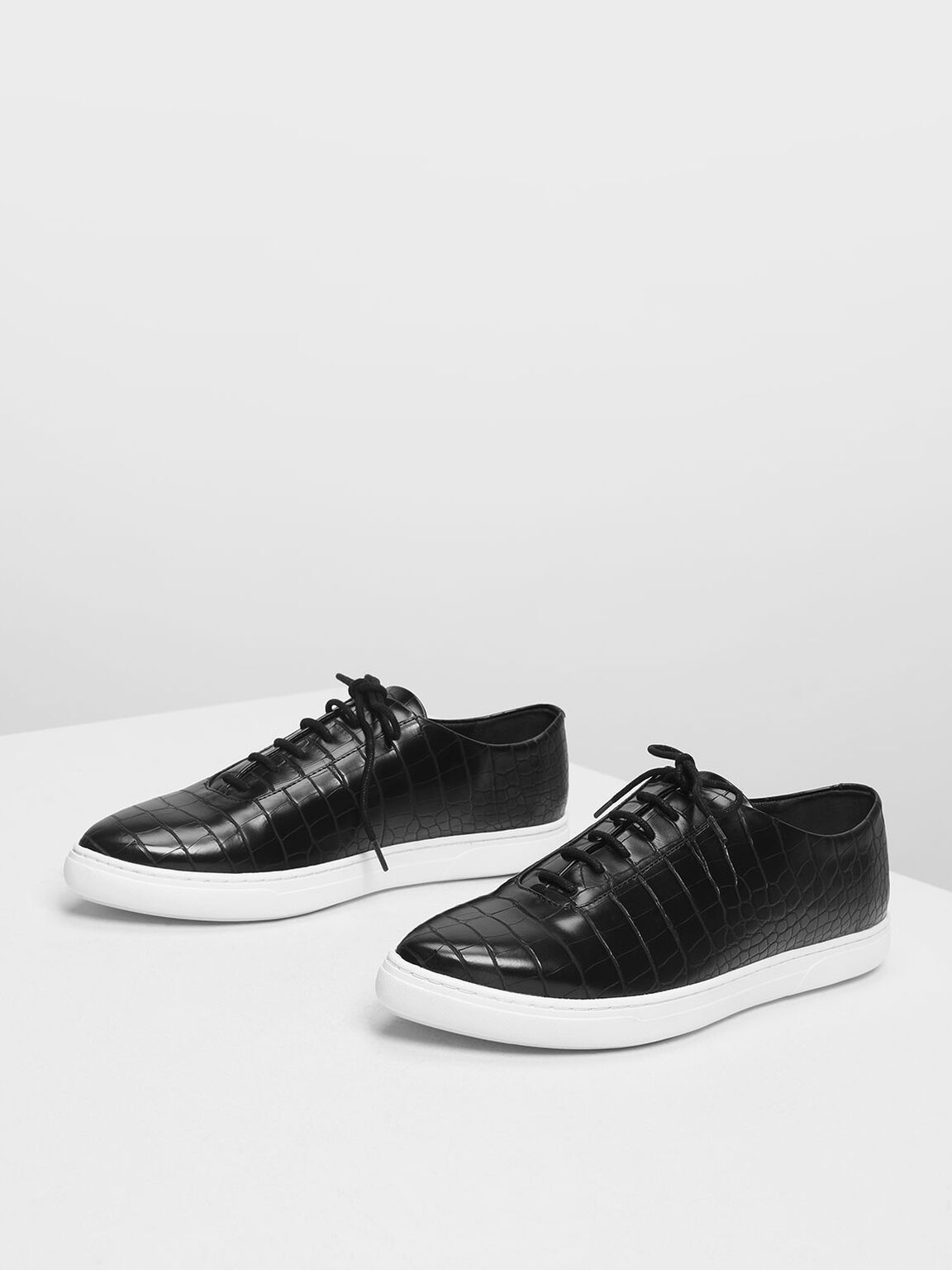 Pointed Sneakers, Black Textured, hi-res