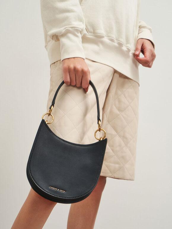 Ring Detail Hobo Bag, Black, hi-res
