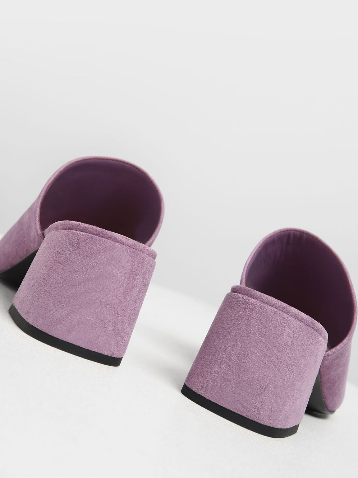 Suede Block Heel Slide Sandals, Lilac, hi-res