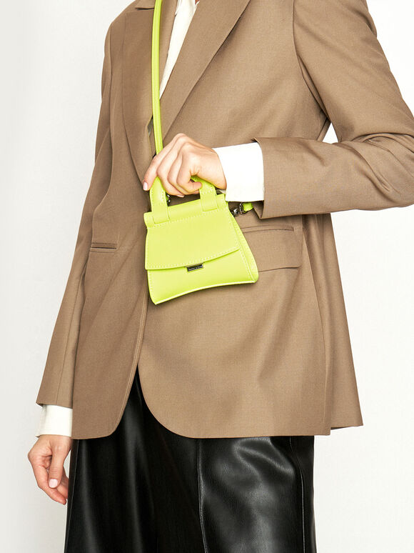Mini Top Handle Pouch Bag, Neon Yellow, hi-res