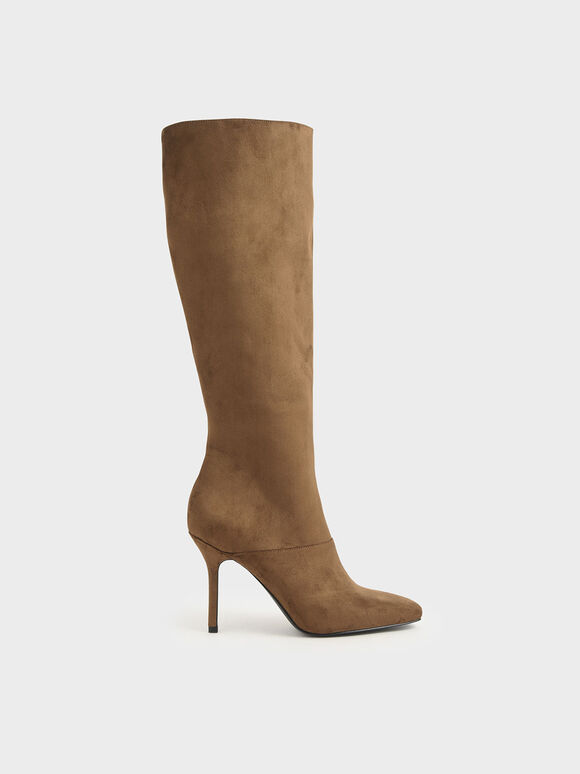 Textured Knee High Boots, Brown, hi-res