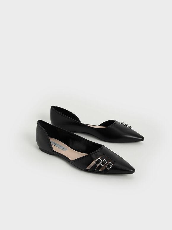 Half D'Orsay Cut-Out Ballerinas, Black, hi-res