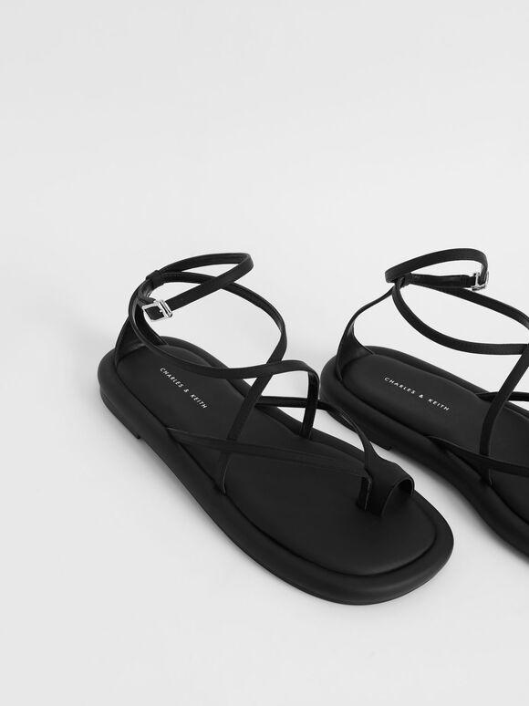 Padded Toe Loop Sandals, Black, hi-res