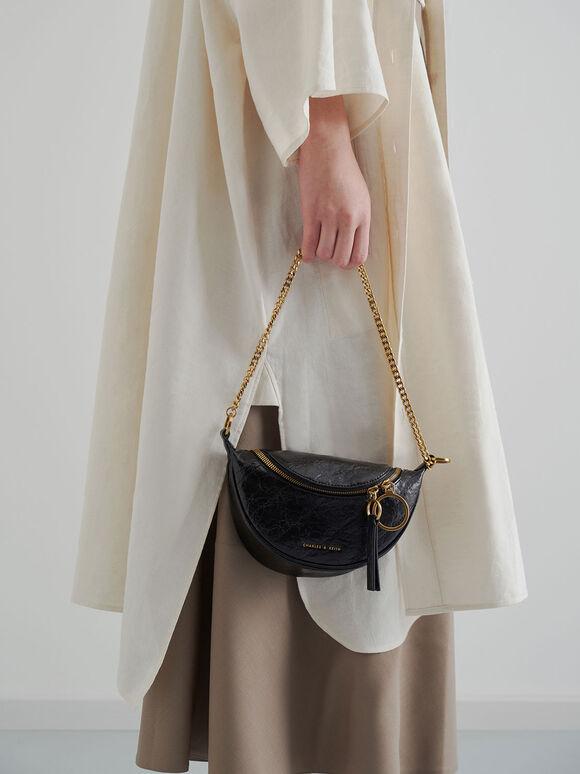 Half Moon Crossbody Bag, Black, hi-res