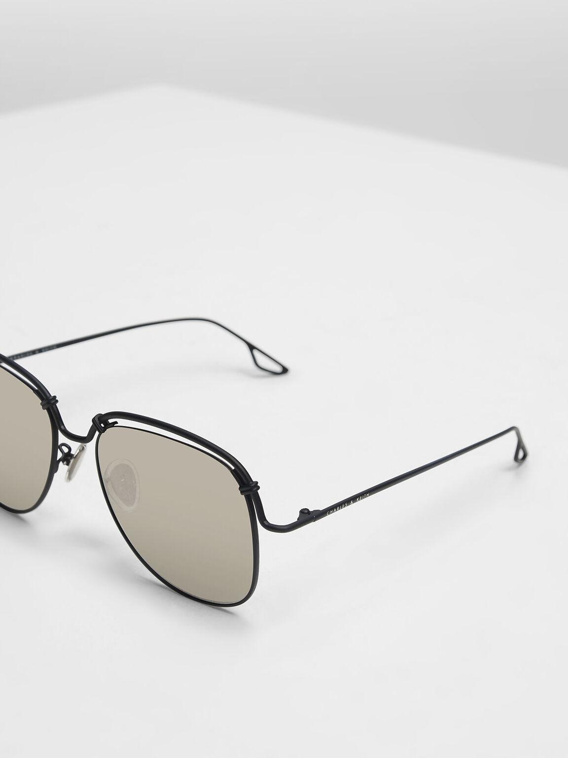 Half Wire Frame Sunglasses, Black, hi-res