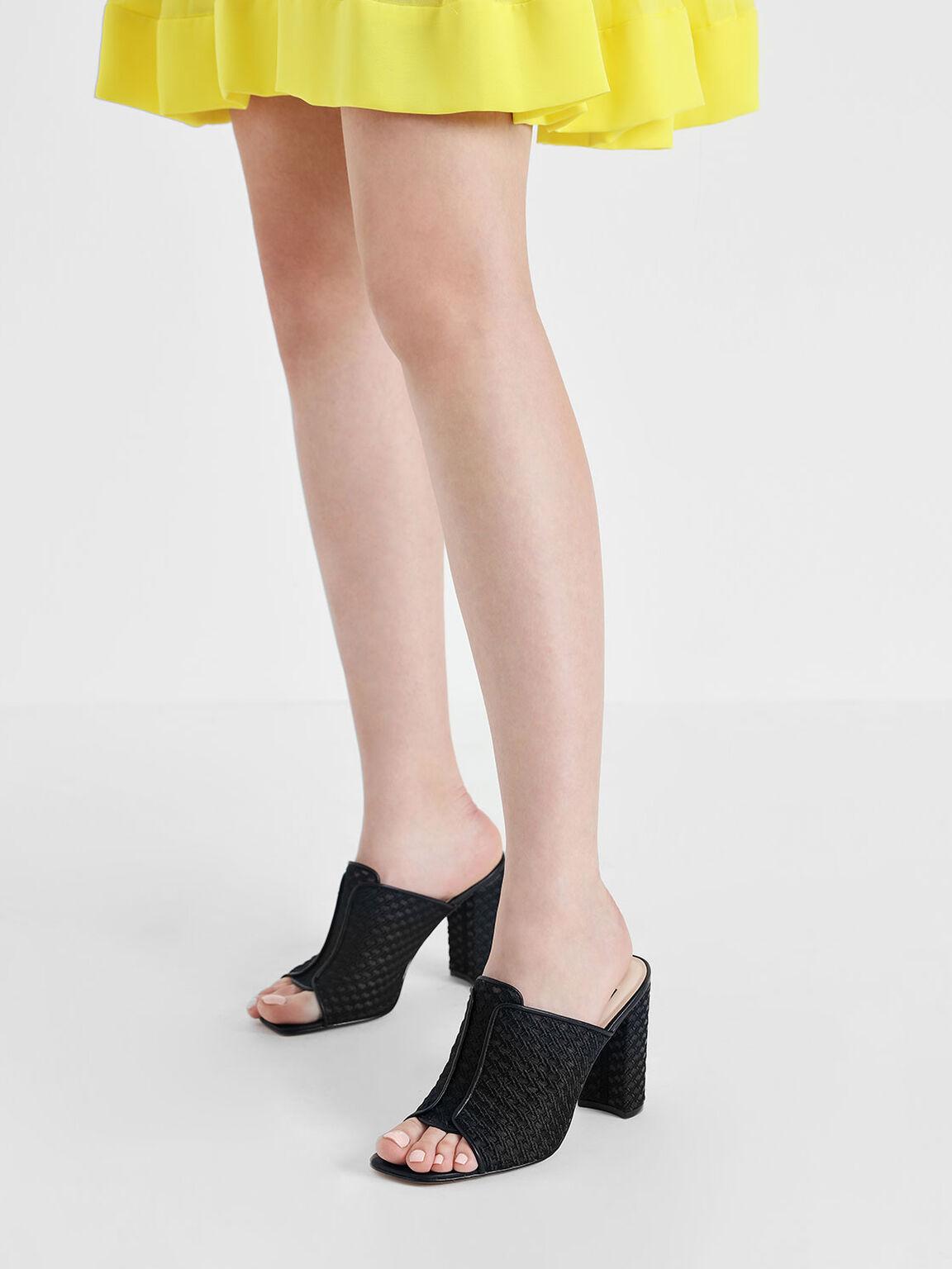 Mesh Block Heeled Slide Sandals, Black, hi-res