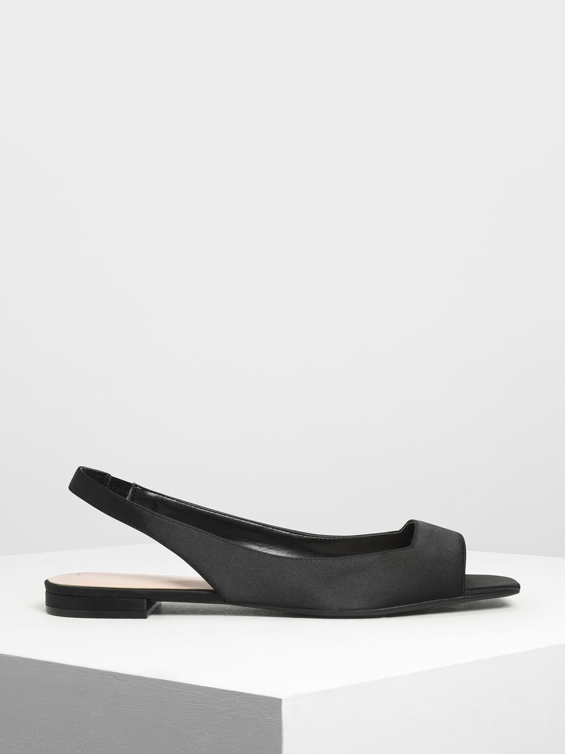 Satin Square Toe Slingback Flats, Black, hi-res