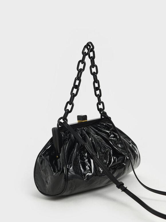 Patent Chain Handle Clutch, Black, hi-res
