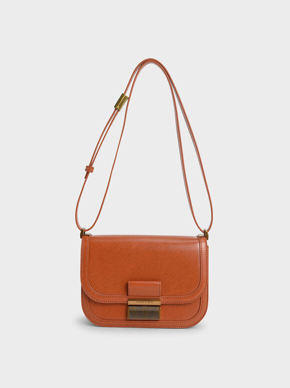 Metallic Push-Lock Crossbody Bag, Orange, hi-res