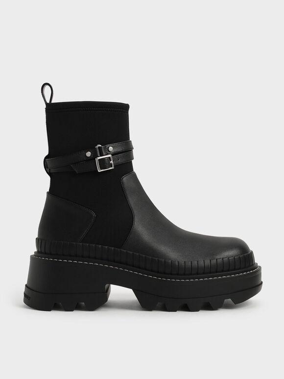 Slip-On Platform Ankle Boots, Black, hi-res