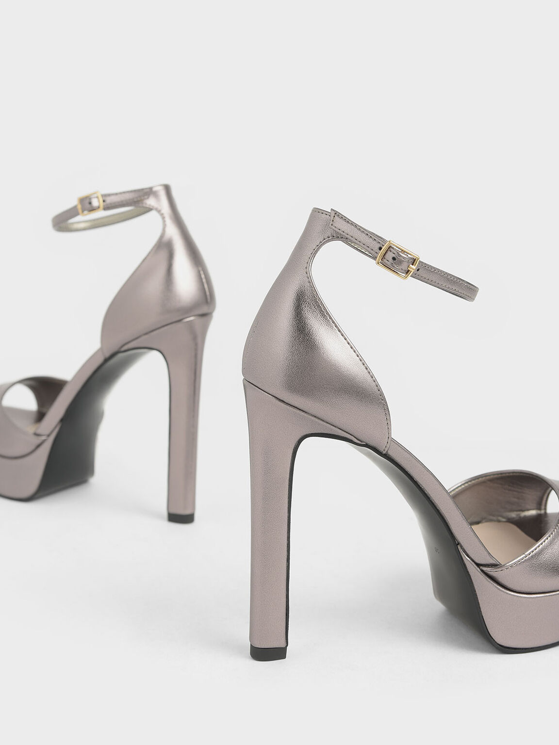 Metallic Platform Stiletto Heels, Pewter, hi-res