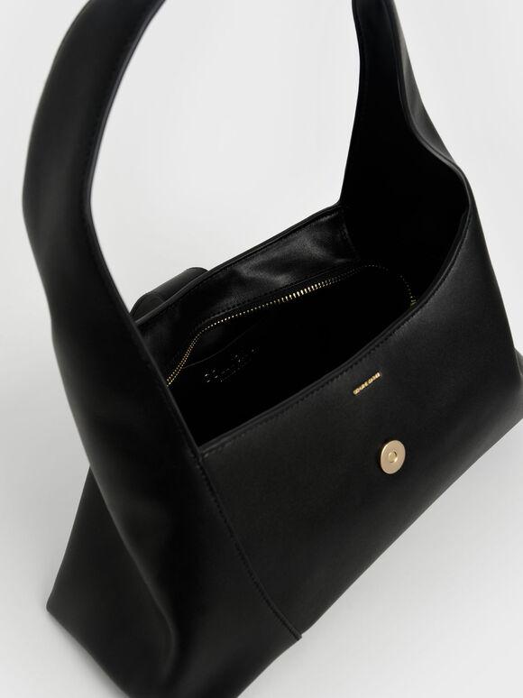 Leather Hobo Bag, Black, hi-res