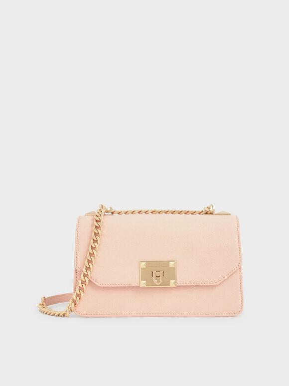 Classic Push-Lock Crossbody Bag, Light Pink, hi-res
