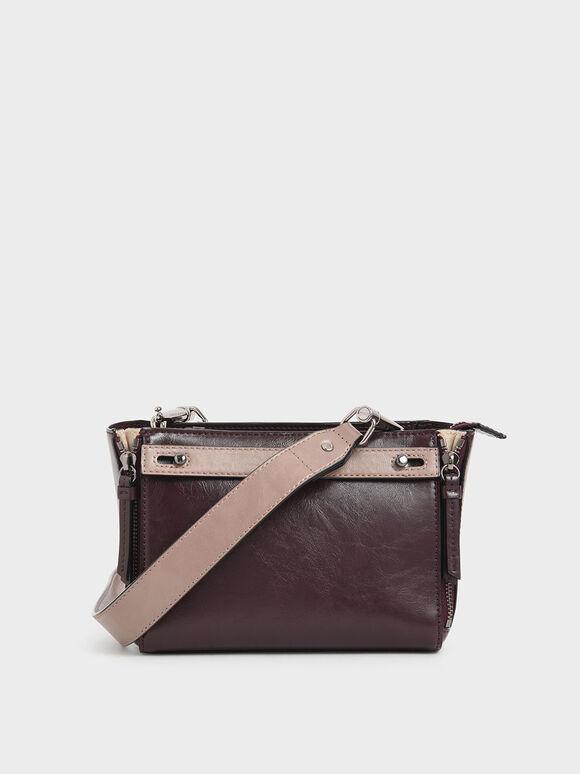 Two-Tone Rectangle Crossbody Bag, Multi, hi-res