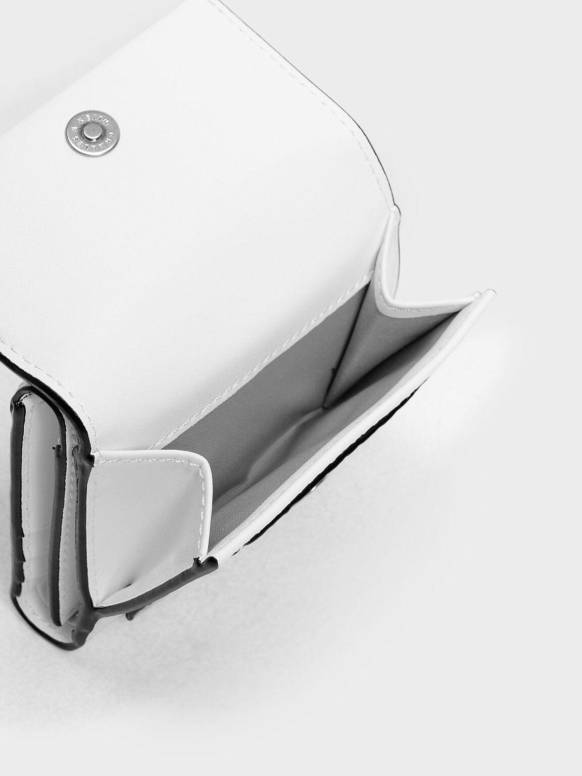 Stitch Detail Front Flap Short Wallet, White, hi-res