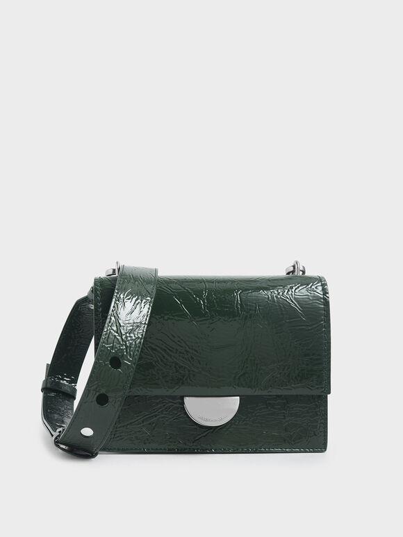 Round Metal Accent Wrinkled Patent Bag, Dark Green, hi-res