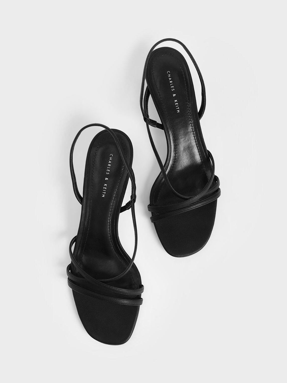 Strappy Cylindrical Heel Sandals, Black, hi-res