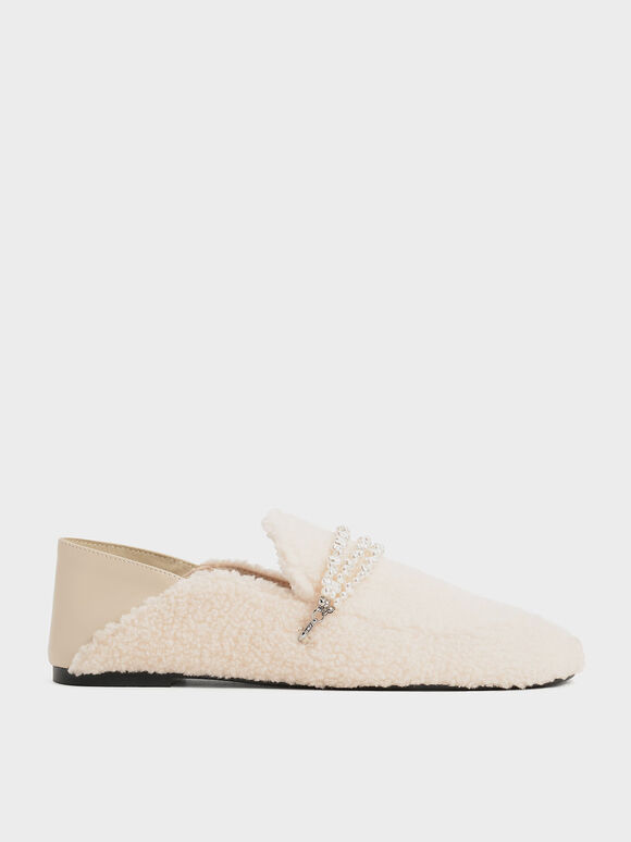 Beaded Furry Step-Back Loafers, Chalk, hi-res