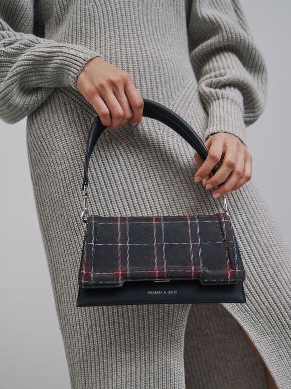 Check Print Trapeze Front Flap Bag, Dark Blue, hi-res