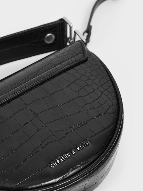 Croc-Effect Top Handle Semi-Circle Bag, Black, hi-res