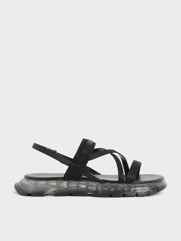 Grosgrain Strappy Flatform Sandals, Black, hi-res