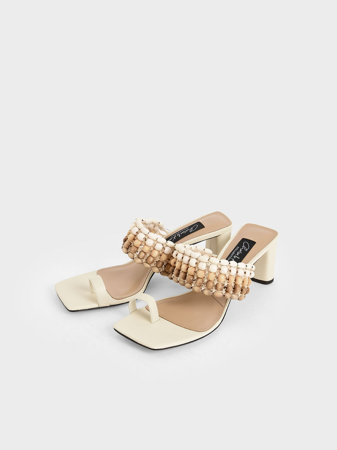 Leather Beaded Heeled Sandals, Chalk, hi-res