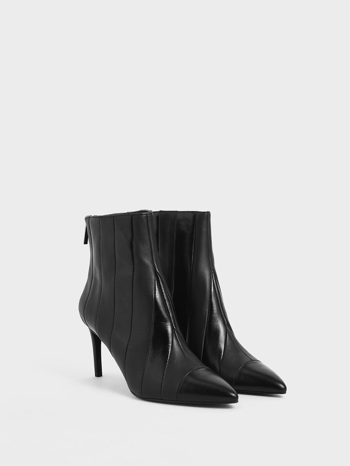 Leather Striped Ankle Boots, Black, hi-res