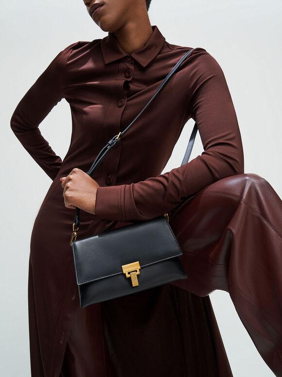 Leather Push-Lock Shoulder Bag, Black, hi-res