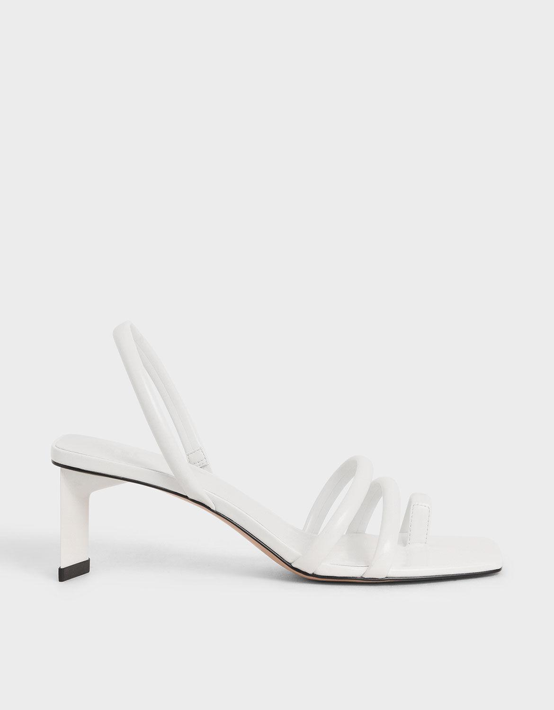 White Toe Loop Strappy Slingback Heels