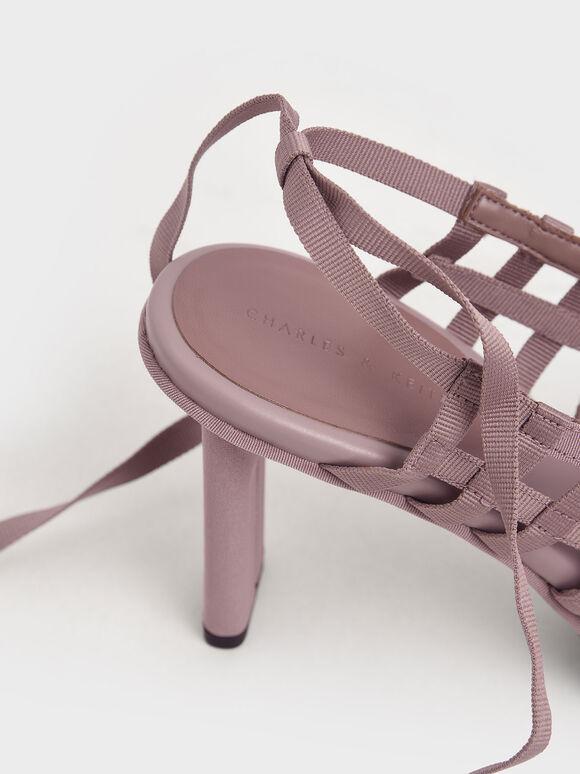 Grosgrain Tie-Around Caged Court Shoes, Purple, hi-res