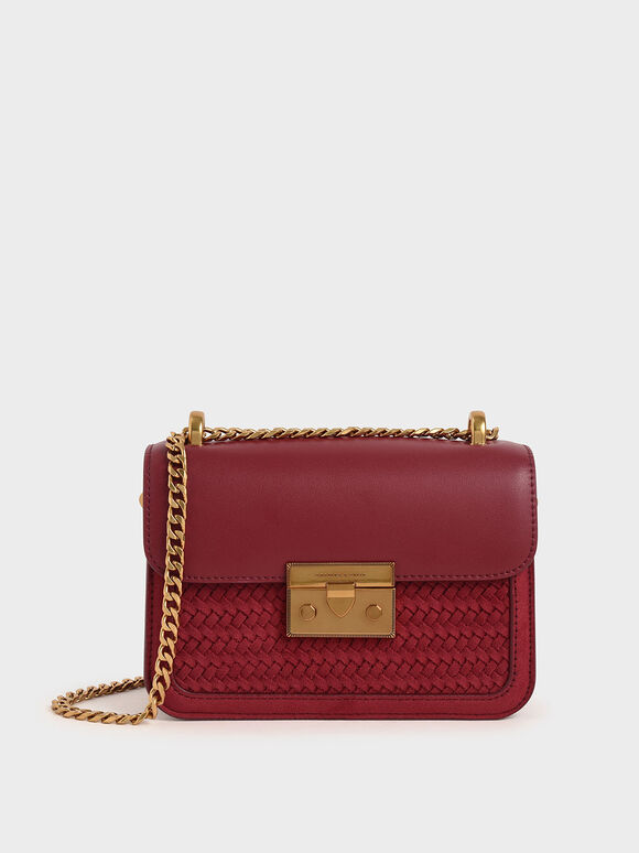 Textured Metallic Push-Lock Crossbody Bag, Red, hi-res