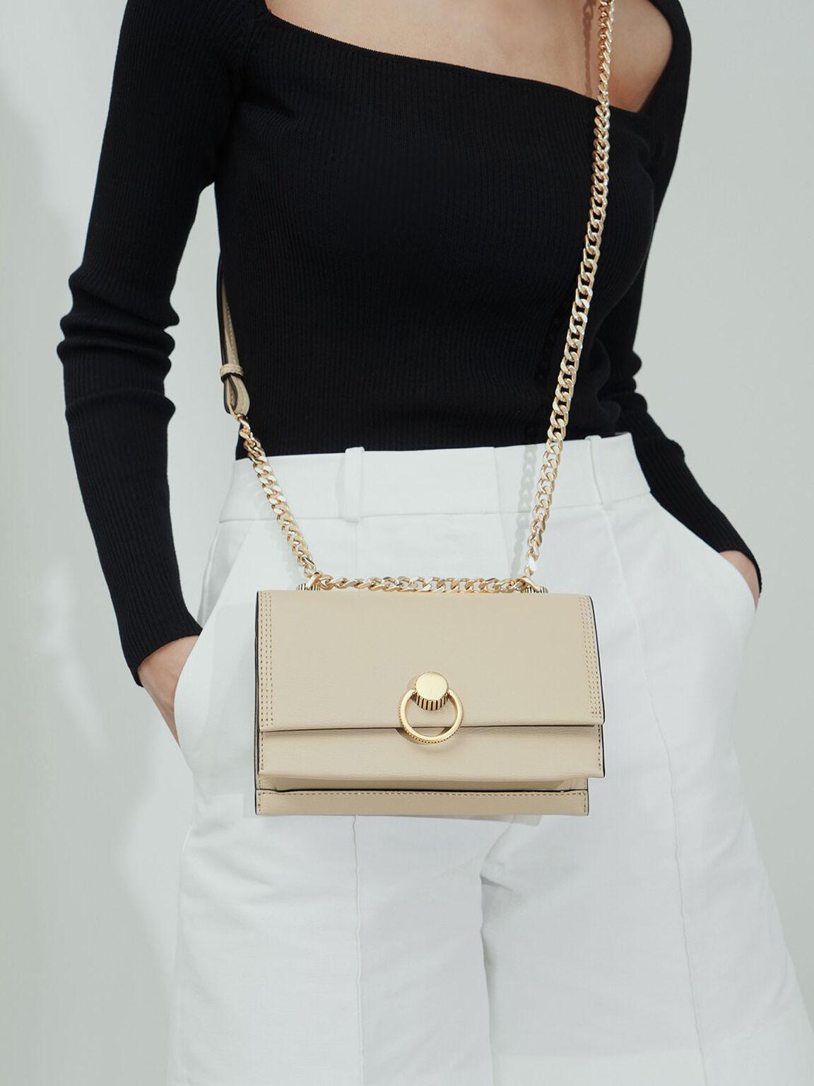 Ring Push-Lock Shoulder Bag, Ivory, hi-res